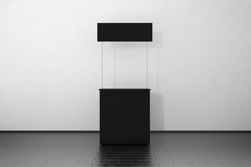 Blank black promo counter mockup stand near the wall, 3d rendering. Empty promotional pop up exhibition mock up. Clear store portable desk template. Trade kiosk branding presentation.