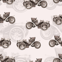 Vintage car seamless pattern, old retro drawing machine, cartoon vector background, monochrome. Illustration in style sepia. For the design of wallpaper, wrapper, fabric, decoration