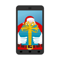 Christmas Photo Santa to give gift. Photographing your smartphon