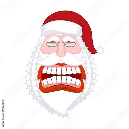 Quot santa claus wild grin aggressive old man open your