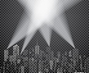 In de dag Licht, schaduw spots city windows