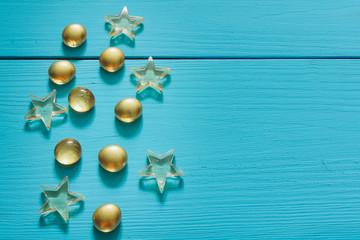magic golden marble. turquoise blue background