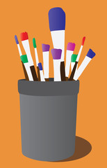 Colorful vector paint brushes in a can or jar abstract vector illustration isolated on orange background