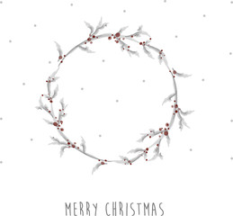 Delicate watercolor Christmas wreath on snow background. Merry Christmas inscription. Hand drawn vector illustration.