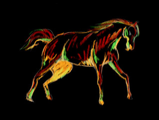 Freehand horse surreal painting negative black