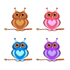 set of colored owls