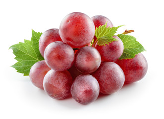Fototapete - Ripe red grape with leaf isolated on white.