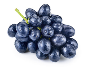 Fototapete - Dark blue grape. Bunch isolated on white background. With clippi