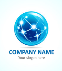 Globe company logo of connecting. Sign for Internet technologies, global missions, communications and other businesses. Vector icon.