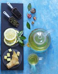 Tea set with ginger, lemon and honey