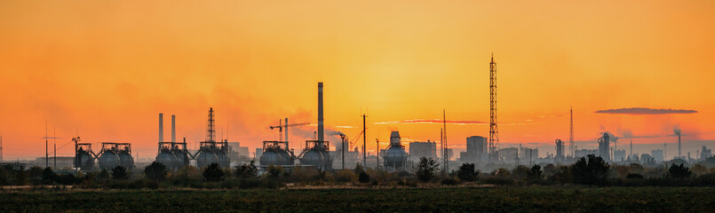 Industrial landscape on sunset Wall mural