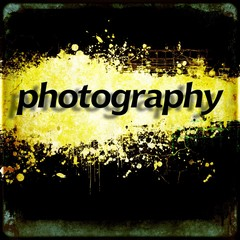 """Word """"photography"""" on black and yellow grunge background. Communication concept."""
