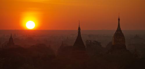 Panorama of Bagan pagodas valley shot at sunrise