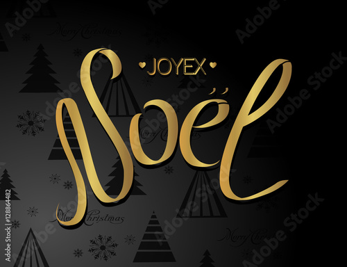 merry christmas card template with greetings in french language joyeux noel noel calligraphic lettering