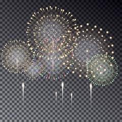 Festive transparent firework bursting in various shapes vector i