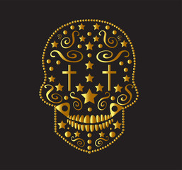 Skull vector gold color with crosses