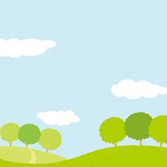夏の草原 イラスト