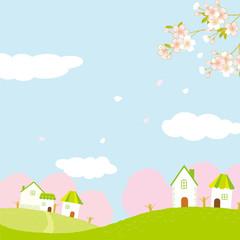 春の街並み イラスト