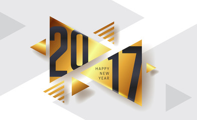 Happy New year 2017 greeting card background with triangle  pattern. Vector illustration.Wallpaper.flyers, invitation, posters, brochure, banners, calendar