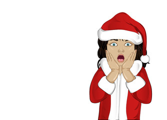 Wow. Girl in Santa Claus costume very surprised. Child. Vector