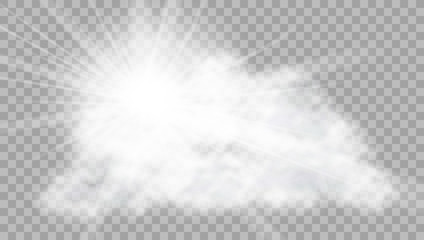 Realistic Cloud With Sun Flare On Transparent Background