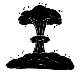 mushroom cloud, nuclear explosion silhouette,  vector symbol ico