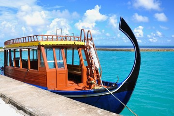 Maldivian boat at port, Thinadhoo island, Vaavu atoll, Maldives