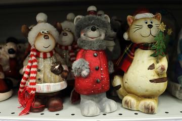 Christmas decor, deer, rat, cat