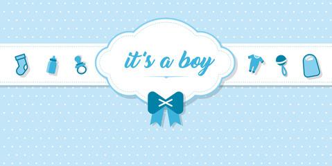 """elegante Karte zur Geburt eines Babies mit Schrift """"It's a boy"""