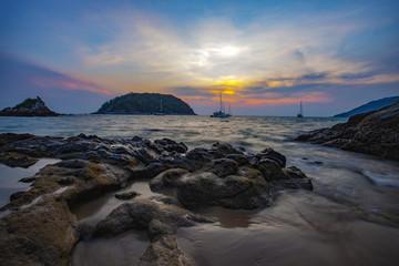 beautiful sea scape and sun set sky of ya nui beach andaman sea