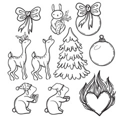 Cute Christmas set with animals icons: deer, doe, rabbit, lamb. Christmas Tree and cute animals. Funny animals childish design. Wonderful winter elements for paper or fabric.