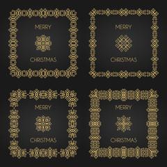 Golden decorative frames set. Vector design templates. Creative intricate borders. Merry christmas text.