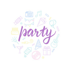 Party lettering with icons. Calligraphy font