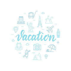 Vacation lettering with icons. Calligraphy font