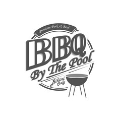 Delicious bbq sign design. Barbecue by the pool. Vector illustration.