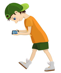 Computer addicted child attentively looks at his tablet. Game and internet addiction. Vector illustration of comic cartoon walking boy with a gadget. Isolated character.