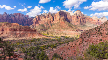 The rays of the sun illuminate the canyon.  The breathtaking views of the valley. Zion National Park, Utah, USA