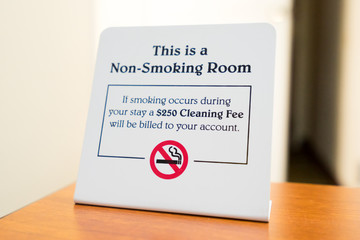 Non-Smoking Sign in a Hotel Room