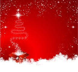 Geschenk Weihnachtsbaum Schnee Hintergrund