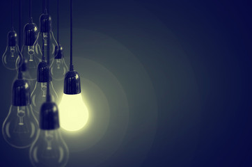 Idea concept with light bulb.