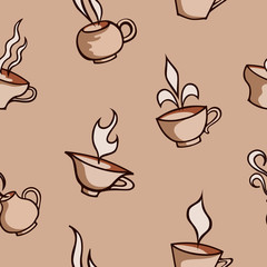 Seamless patterns with cups. Tea and coffee design elements. Vector background.