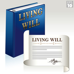 Living will document and three ring binder package