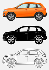 Off-road luxury vehicle in three different styles: orange, black silhouette, contour.