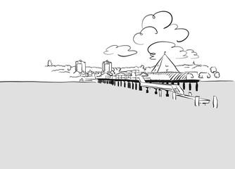 Seebrücke Heringsdorf, Usedom von Wasser aus gesehen