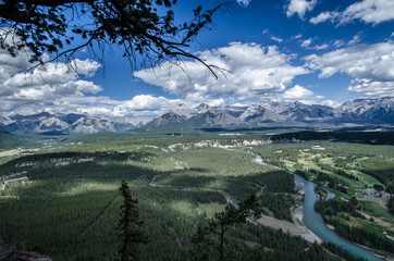 View of mountain range from Tunnel Mountain in Banff
