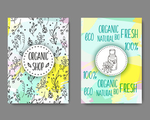 Brochurewith cosmetic bottles. Organic cosmetics illustration.