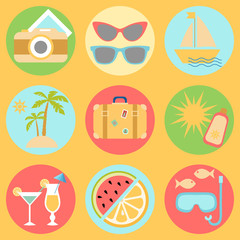 Summer vacation icons, The set of icons with vacation and travel symbols