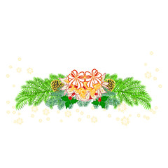 Christmas decoration white poinsettia and pine cones vector illustration