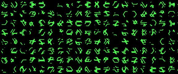 Complex line of alien hieroglyphs symbols isolated on black background, digital illustration art work.