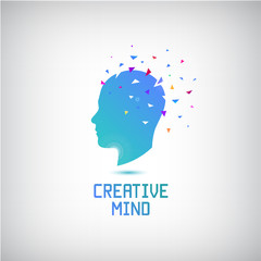 Vector creative mind logo, head silhouette with thoughts and ideas going out.